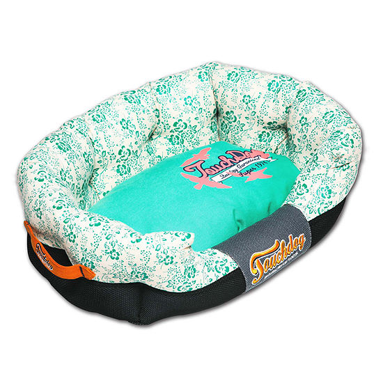 The Pet Life Touchdog Floral-Galore Ultra-Plush Rectangular Rounded Designer Dog Bed