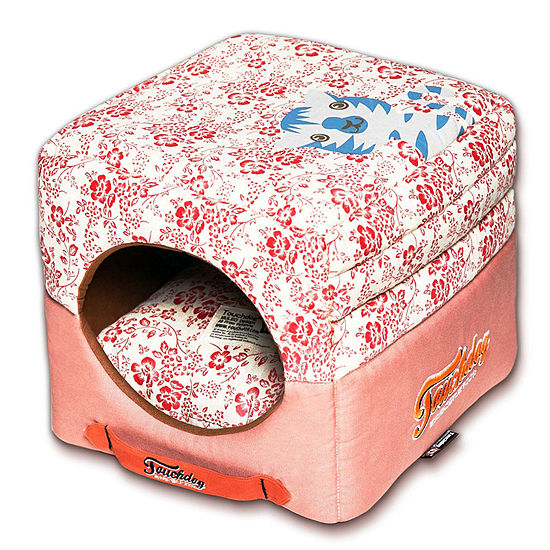 The Pet Life Touchdog Floral-Galore Convertible and Reversible Squared 2-in-1 Collapsible Dog House Bed