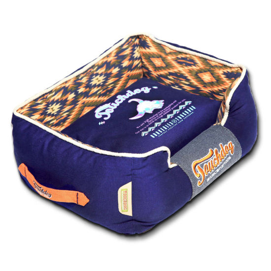 The Pet Life Touchdog 70's Vintage-Tribal Throwback Diamond Patterned Ultra-Plush Rectangular-BoxedDog Bed