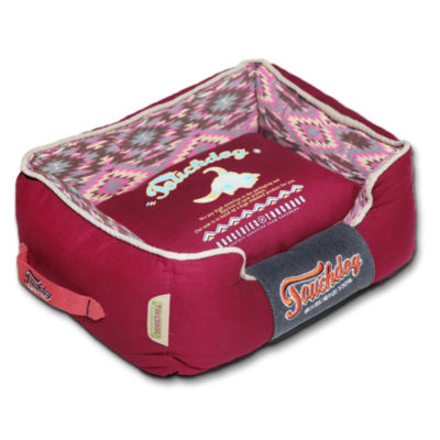 The Pet Life Touchdog 70's Vintage-Tribal Throwback Convertible and Reversible Squared 2-in-1 Collapsible Dog House Bed