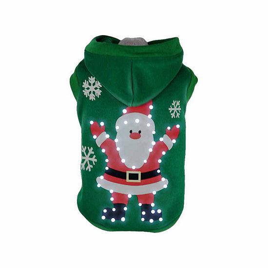 The Pet Life Pet Life LED Lighting Hands-Up-Santa Hooded Sweater Pet Costume
