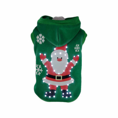 The Pet Life Pet Life LED Lighting Hands-Up-Santa Hooded Sweater Pet Costume