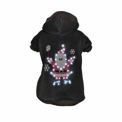 The Pet Life LED Lighting Juggling Santa Hooded Sweater Pet Costume