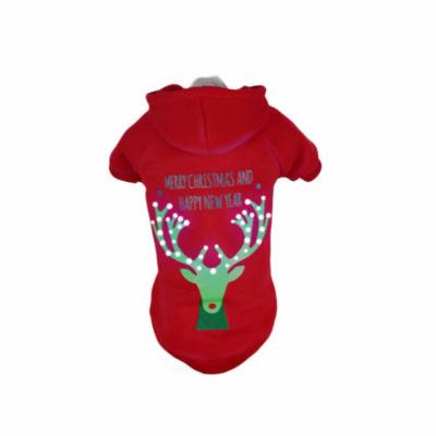 The Pet Life Pet Life LED Lighting Christmas Reindeer Hooded Sweater Pet Costume