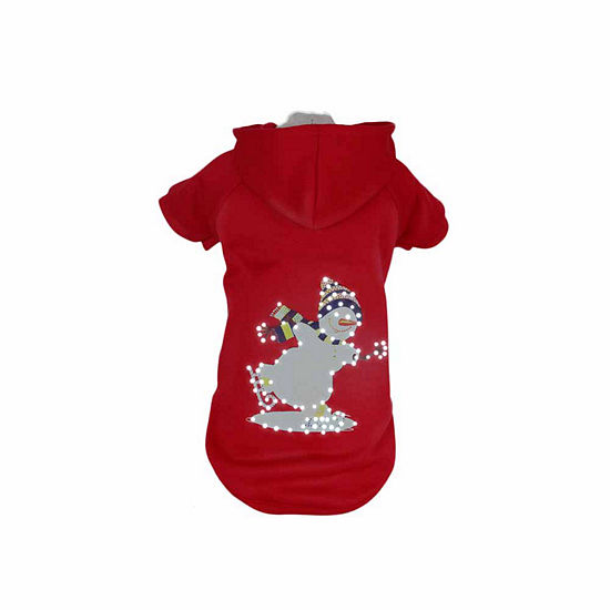 The Pet Life LED Lighting Holiday Snowman Hooded Sweater Pet Costume