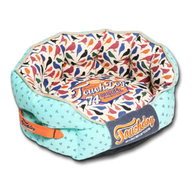 The Pet Life Touchdog Neutral-Striped Ultra-Plush Rectangular Rounded Designer Dog Bed