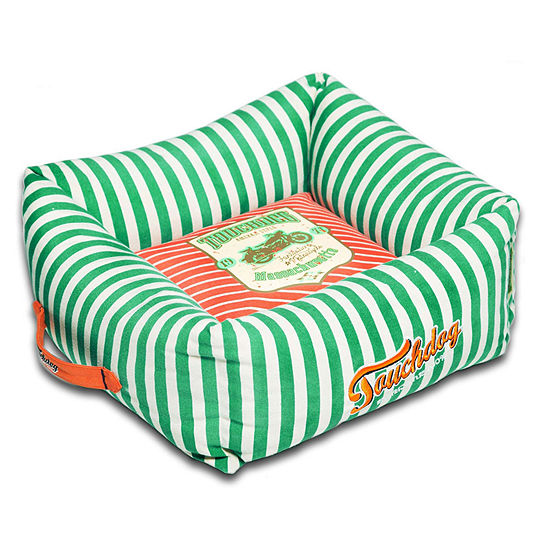 The Pet Life Touchdog Neutral-Striped Ultra-Plush Easy Wash Squared Designer Dog Bed