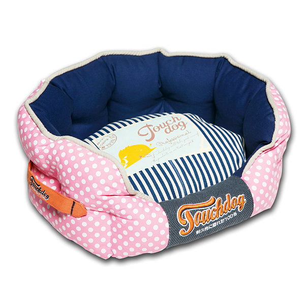 The Pet Life Touchdog Polka-Striped Polo Easy Wash Squared Fashion Dog Bed
