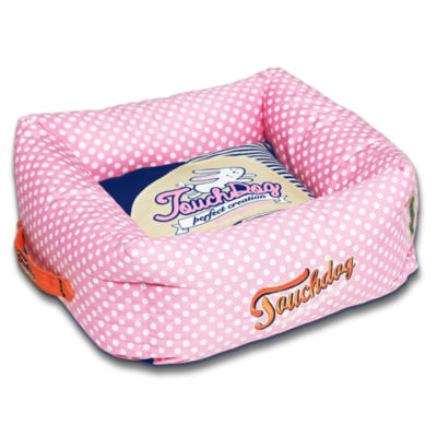 The Pet Life Touchdog Polka-Striped Polo Easy Wash Squared Fashion Pet Bed