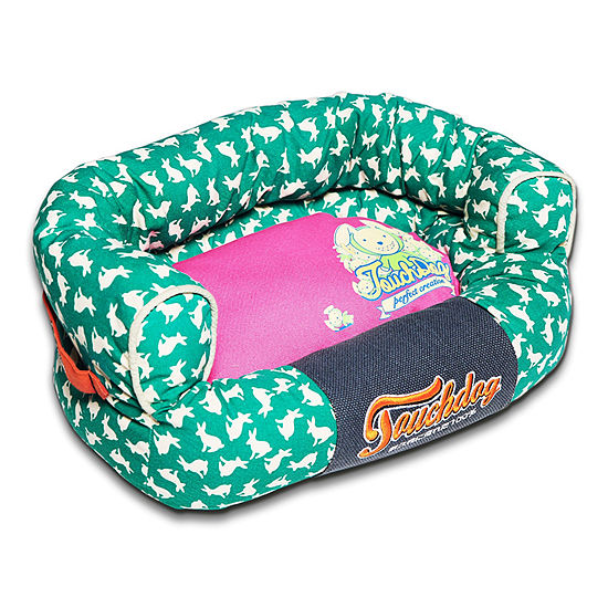 The Pet Life Touchdog Lazy-Bones Rabbit-Spotted Premium Easy Wash Couch Dog Bed