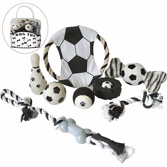 The Pet Life 8 Piece Soccer Themed Pet Toy Set