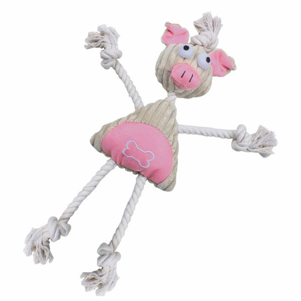 The Pet Life Jute And Rope Plush Pig Mannequin - Pet Toy