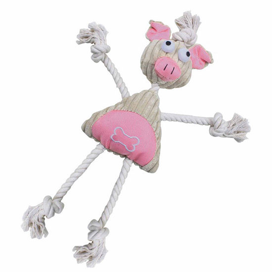 The Pet Life Jute And Rope Plush Pig Mannequin Pet Toy