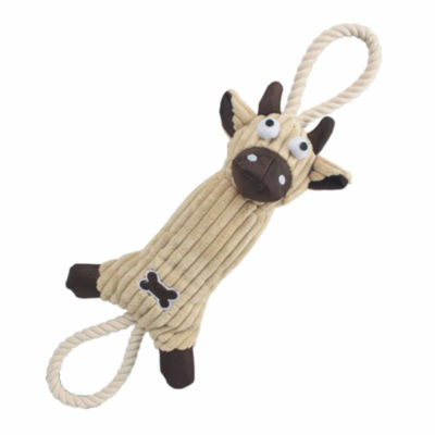 The Pet Life Jute And Rope Plush Cow - Pet Toy