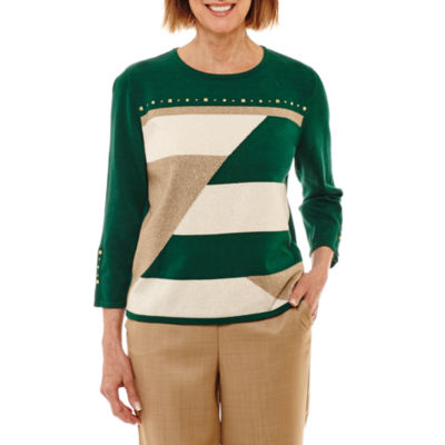 Alfred Dunner Emerald Isle 3/4 Sleeve Crew Neck Patchwork Pullover Sweater-Petites