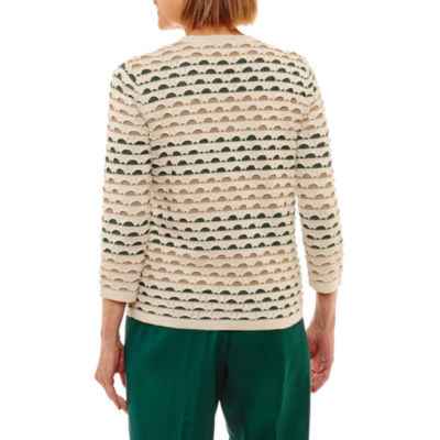 Alfred Dunner Emerald Isle 3/4 Sleeve Crew Neck Layered Sweaters-Petites