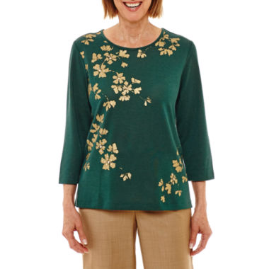 Alfred Dunner Emerald Isle 3/4 Sleeve Crew Neck Leaf T-Shirt-Womens Petites