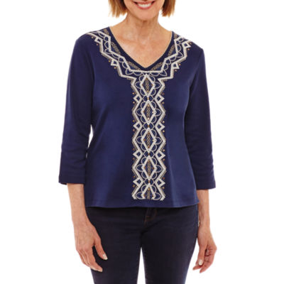Alfred Dunner Gypsy Moon 3/4 Sleeve V Neck T-Shirt-Womens Petites