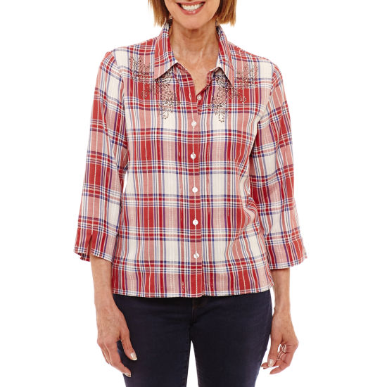 Alfred Dunner Gypsy Moon 3/4 Sleeve Button-Front Shirt-Petites