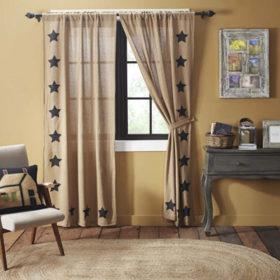 VHC Brands Burlap with Stencil Stars Window Treatments