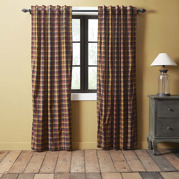 Ashton & Willow Settlement Primitive Check Short Panel Curtain Set of 2