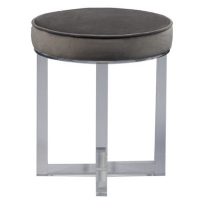 Round Upholstered Acrylic Leg Ottoman In Luxor Flannel