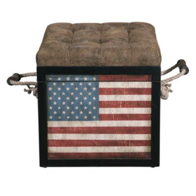 Banner American Flag Storage Ottoman
