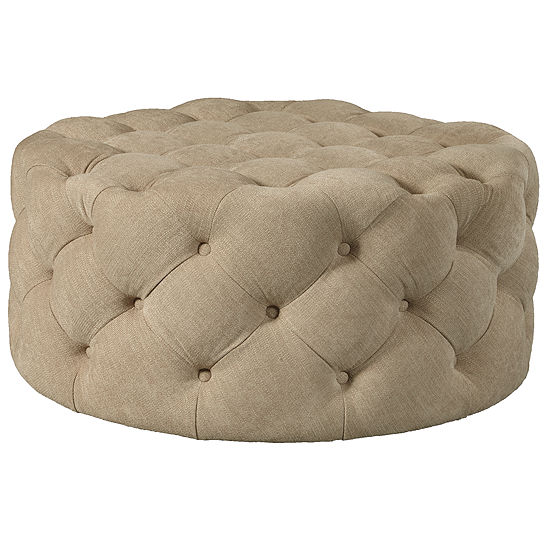 Round Button Tufted Cocktail Ottoman With Casters