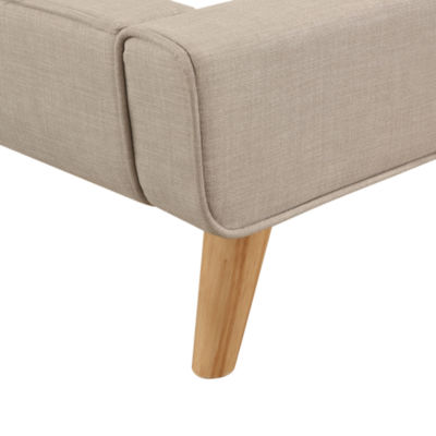 Devon & Claire Rivas Ivory Upholstered Platform Bed