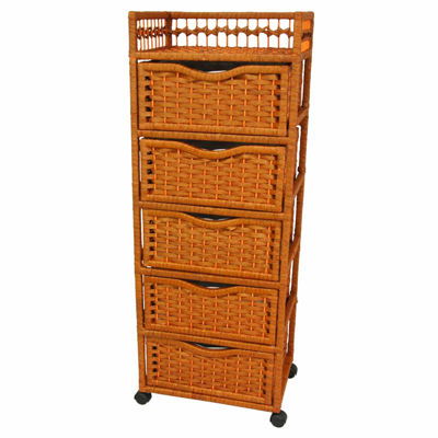 "Oriental Furniture 46"" Natural Fiber On Wheels Accent Chest"""