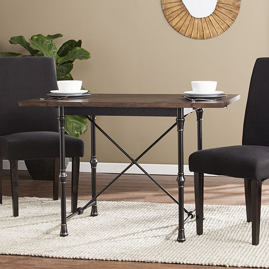 Modern Life Furniture Industrial Farmhouse Drop Leaf Dining Table