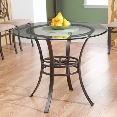 Wooden Door Kitchen Dining Table with Glass Top