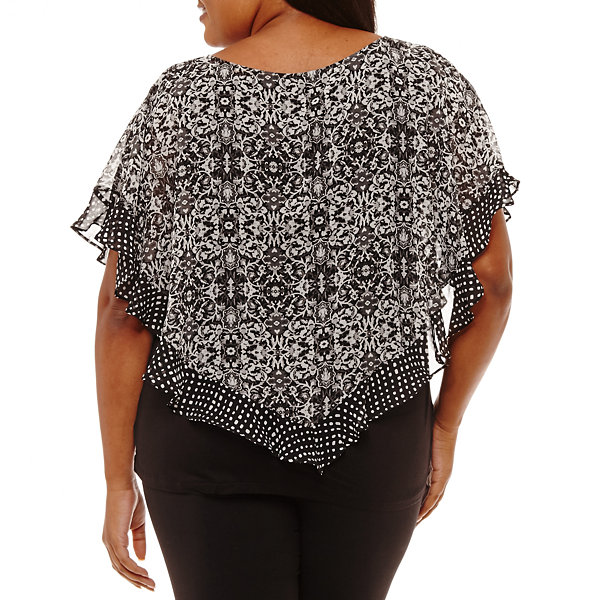Alyx Short Sleeve Round Neck Woven Blouse - Plus