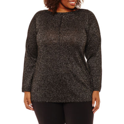 Alyx Long Sleeve Boat Neck Pullover Sweater-Plus
