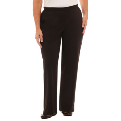 Alfred Dunner Talk Of The Town Knit Flat Front Pants-Plus Short