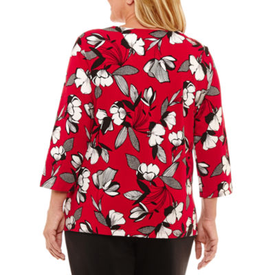 Alfred Dunner Talk Of The Town Floral T-Shirt- Plus