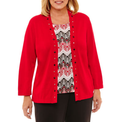 Alfred Dunner Talk Of The Town Diamond Layered Sweaters-Plus