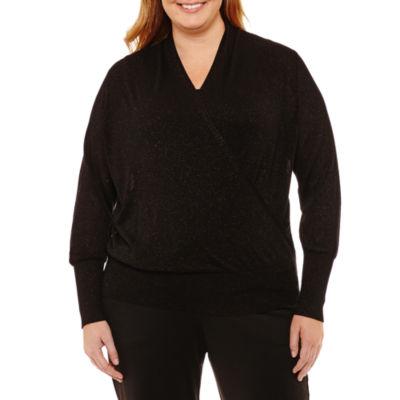 Liz Claiborne Long Sleeve Surplice Pullover Sweater-Plus