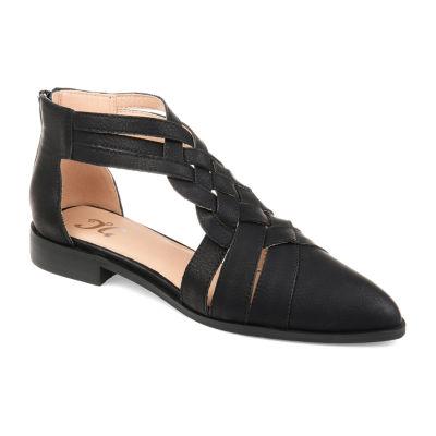 Journee Collection Womens Savanah Ballet Flats Zip Pointed Toe