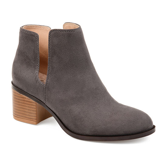 Journee Collection Womens Vianne Booties Stacked Heel Slip-on