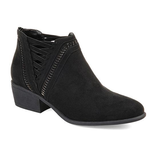 Journee Collection Womens Jeni Booties Stacked Heel Zip