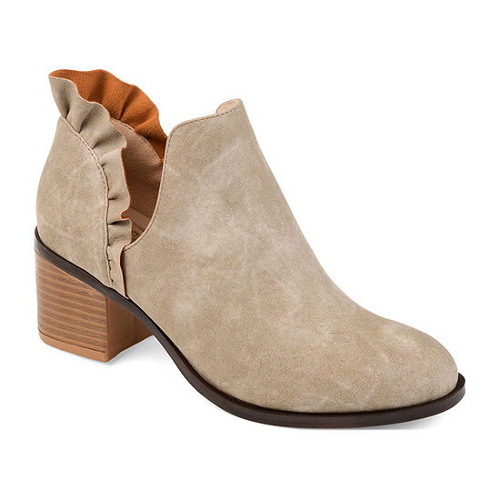 Journee Collection Womens Lennie Booties Stacked Heel Slip-on