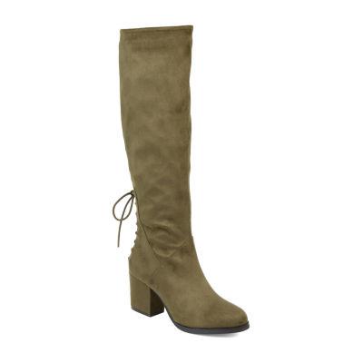 Journee Collection Womens Leeda Riding Boots Block Heel Zip
