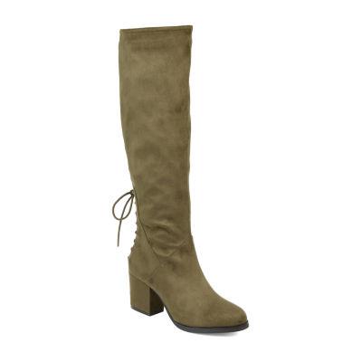 Journee Collection Womens Leeda Extra Wide Calf Riding Boots Block Heel Zip