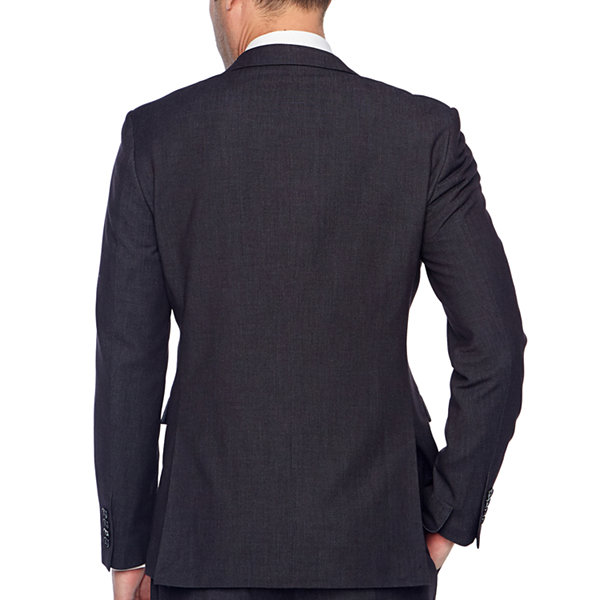 JF J.Ferrar Black Geo Birdseye Mens Dots Stretch Slim Fit Suit Jacket