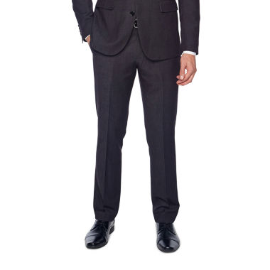 JF J.Ferrar Black Geo Birdseye Dots Slim Fit Stretch Suit Pants
