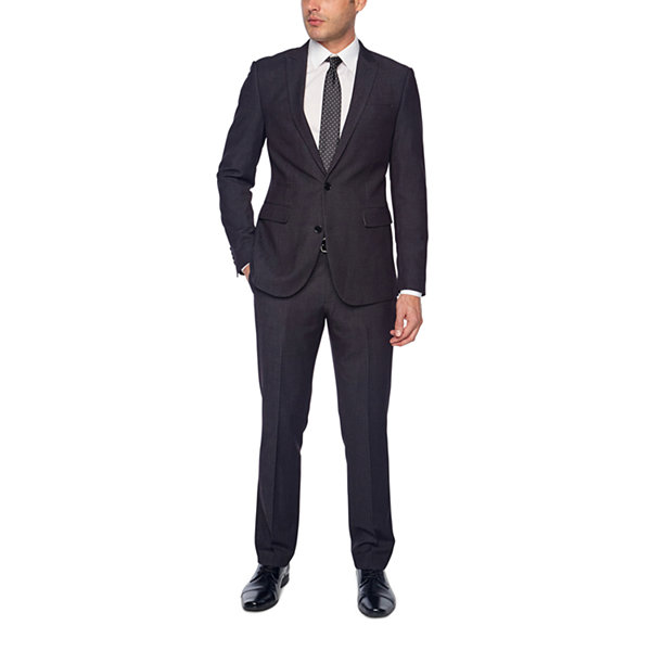 JF J.Ferrar Black Geo Birdseye Mens Dots Stretch Slim Fit Suit Pants
