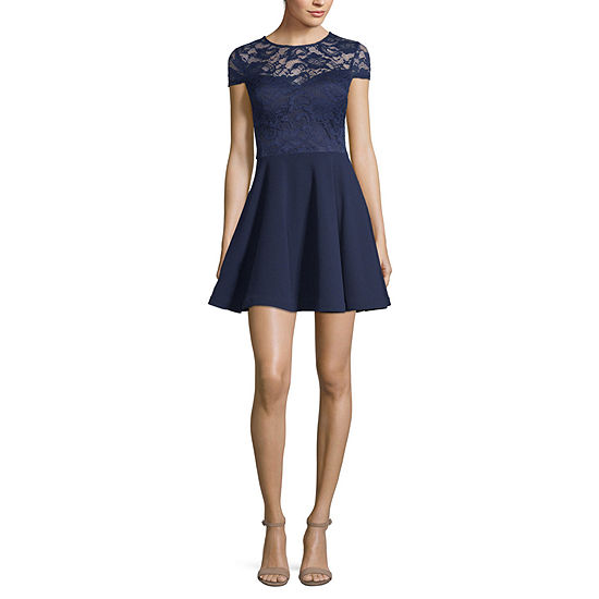 B. Darlin Short Sleeve Party Dress-Juniors