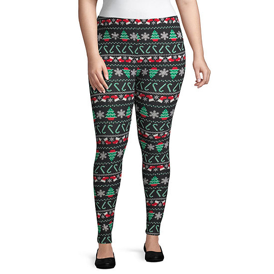 6f1b8ed778cb City Streets Ugly Christmas Sweater Womens Legging-Juniors Plus - JCPenney
