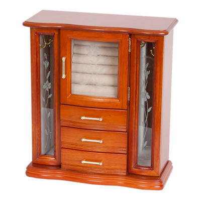Mele & Co. Richmond Upright Walnut-Finish Wood Jewelry Box